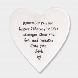 East Of India Braver Porcelain Heart Coaster