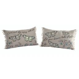 Crewel Work Butterfly Design Cushion