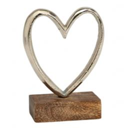 Small Silver Metal Heart On Base