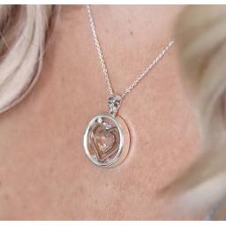 Peace Of Mind.Circle Necklace With Rose Gold Hearts & Crystals