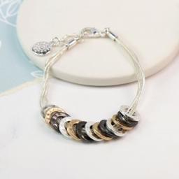 Peace of Mind Silver Plated Bracelet Mixed Finish Multi Hoop Triple Strand Bracelet