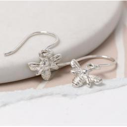 Peace Of Mind Sterling Silver Bee Drop Earrings
