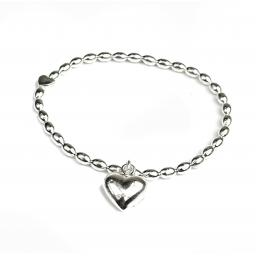 Peace of Mind Puff Silver Plated Heart Bracelet with Heart Charm