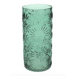 Green Glass Daisy Design Vase Small
