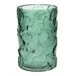 Green Glass Ginkgo Design Cylinder Vase