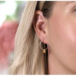Peace Of Mind Sterling Silver Hoop Earrings With Gold Hearts