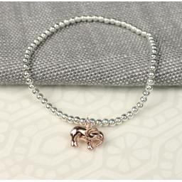 Peace of Mind Silver Plated Bracelet with Rose Gold Elephant