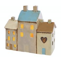 Ceramic 3 House T'Light Holder