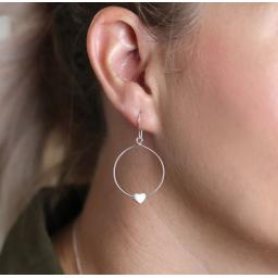 Peace Of Mind Sterling Silver Circle & Heart Drop Earrings