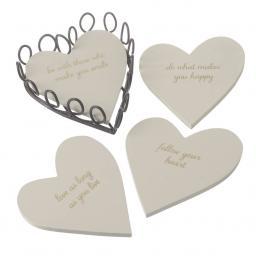 Follow Your Heart Set/4 Heart Shaped Coasters