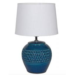 Dark Blue Dimple Lamp with White Shade