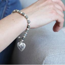 Peace of Mind Silver Plated Studded Heart Beaded Bracelet