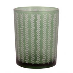Etched Chevron Green Glass Tea Light Holder
