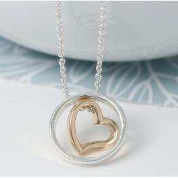 Peace Of Mind. Yellow Gold Heart In Silver Plated Circle Necklace