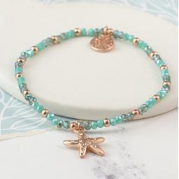 Peace of Mind Aqua Bead & Rose Gold Starfish Bracelet