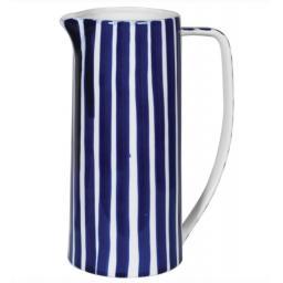 Tall Blue & White Stripe Ceramic Jug
