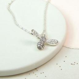 Peace Of Mind. Silver Plated & Enamel Bee Necklace With Crystals