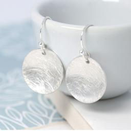 Peace Of Mind Silver Plated Scratched Disc Earrings
