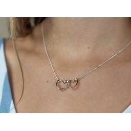 Peace Of Mind Silver Rose Gold Linked Hearts Necklace
