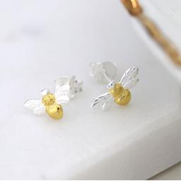 Peace Of Mind Sterling Silver & Gold Bee Earrings