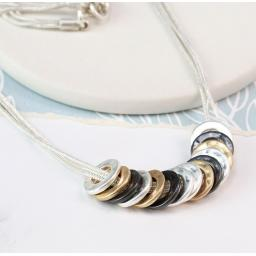 Peace Of Mind. Mixed Finish Multi Hoop Necklace