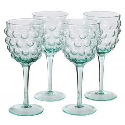 Green Glass Bubble Design Wine Glass