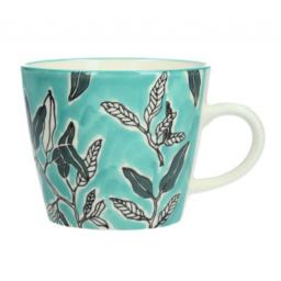 Blue Watercolour Leaves Design Mug by Gisela Graham
