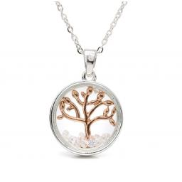 Peace Of Mind.Gold Tree Of Life In Silver Circle Necklace