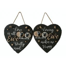Slate Love Ewe Hanging Heart