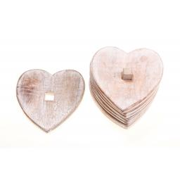 Set Of 6 Wooden Heart Coasters