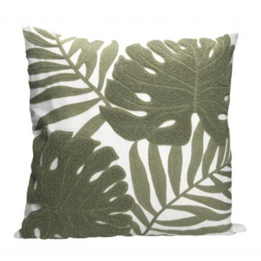 Crewel Work Leaf Design Cushion
