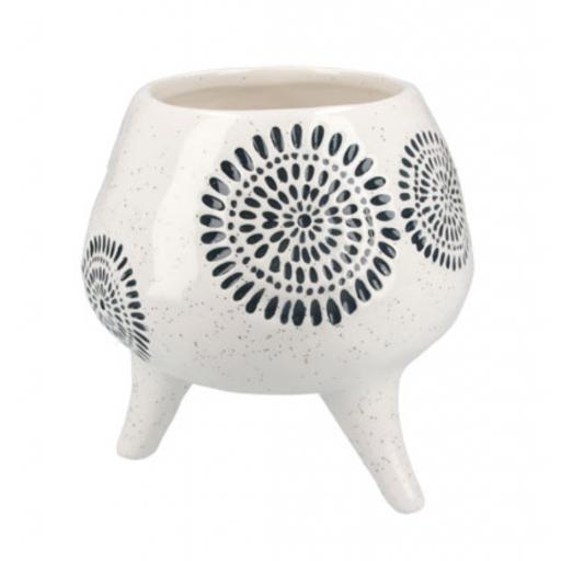 Blue Sunburst Design Footed Planter