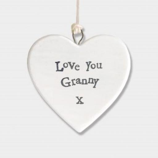 East Of India Love Granny Hanging Porcelain Heart