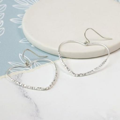 Peace Of Mind Silver Plated Open Beaded Heart Earrings