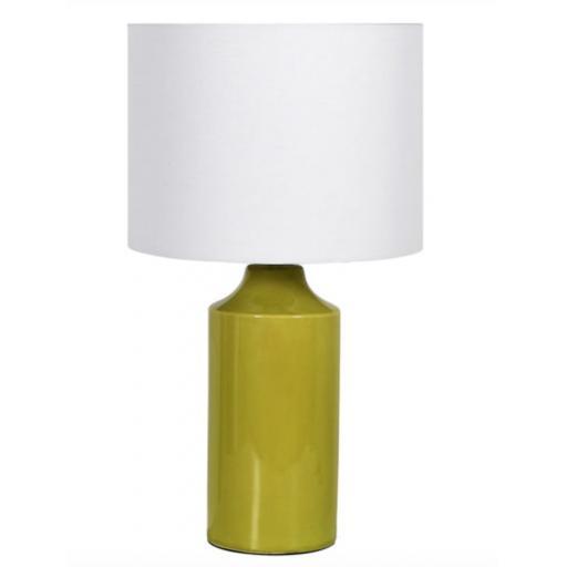 Lime Crackle Glaze Lamp & Linen Shade