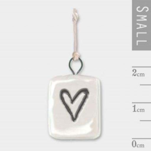 East Of India Mini Hanging Porcelain Heart