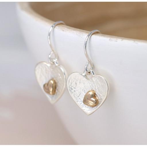 Peace Of Mind Silver Plated & Gold Plated Double Heart Earrings