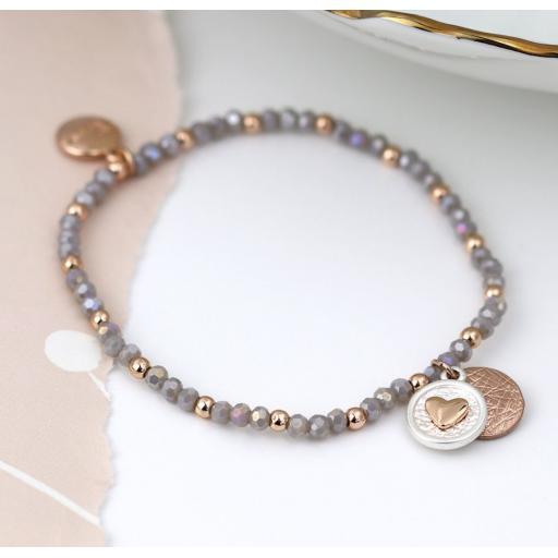 Peace of Mind Rose Gold Scratch Disc Heart Disc Grey Bead Bracelet