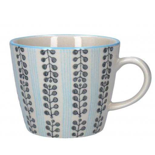 Blue Stripes & Berries Mug by Gisela Graham