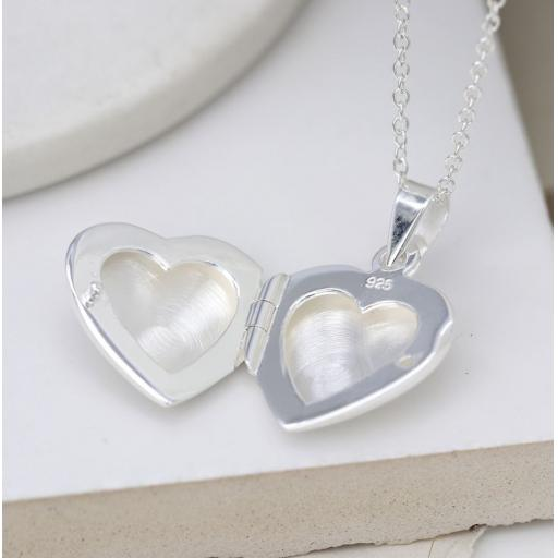 Peace Of Mind. Sterling Silver Brushed Heart Locket Necklace