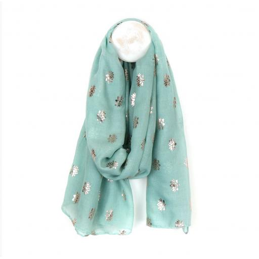 Peace Of Mind Mint Green Scarf With Rose Gold Lotus Print