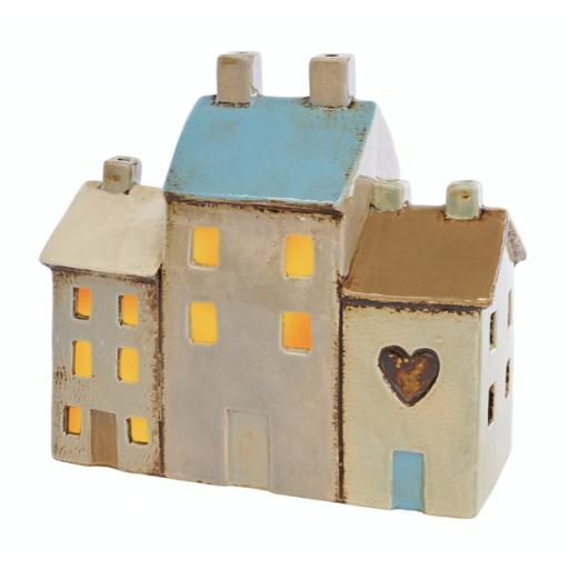 Ceramic 3 House T'Light Holder