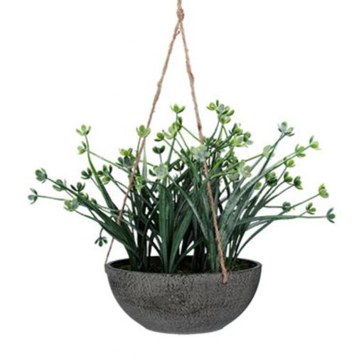 Faux Japanese Green Hanging Plant In A Pot