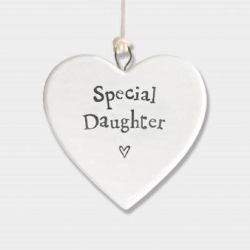 East Of India Special Daughter Hanging Porcelain Heart