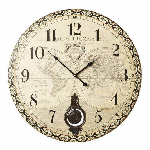 Vintage Wooden Atlas Design Wall Clock