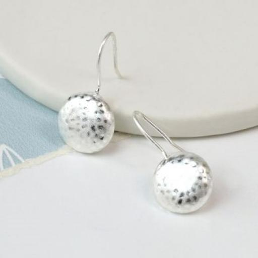 Peace Of Mind Silver Plated Worn Finish Hammered Pebble Earrings