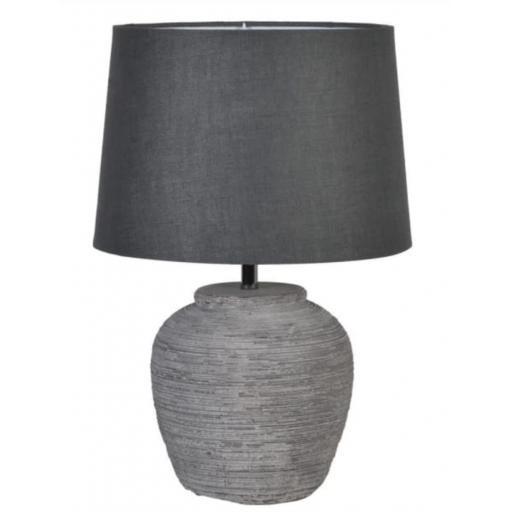 Distressed Stone Effect Lamp with Linen Shade