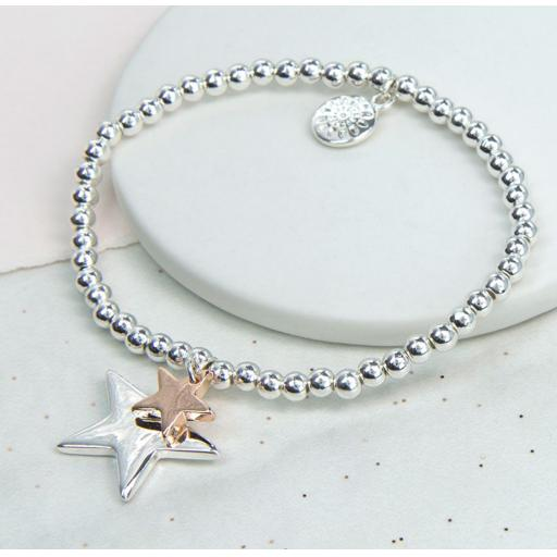 Peace of Mind Silver Plated And Rose Gold Double Star Bracelet