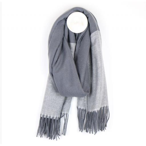 Peace Of Mind Grey Herringbone Scarf With Fringed Ends