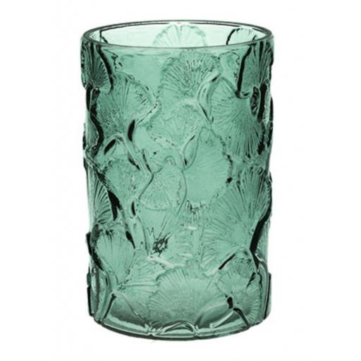 Green Glass Ginkgo Design Cylinder Vase